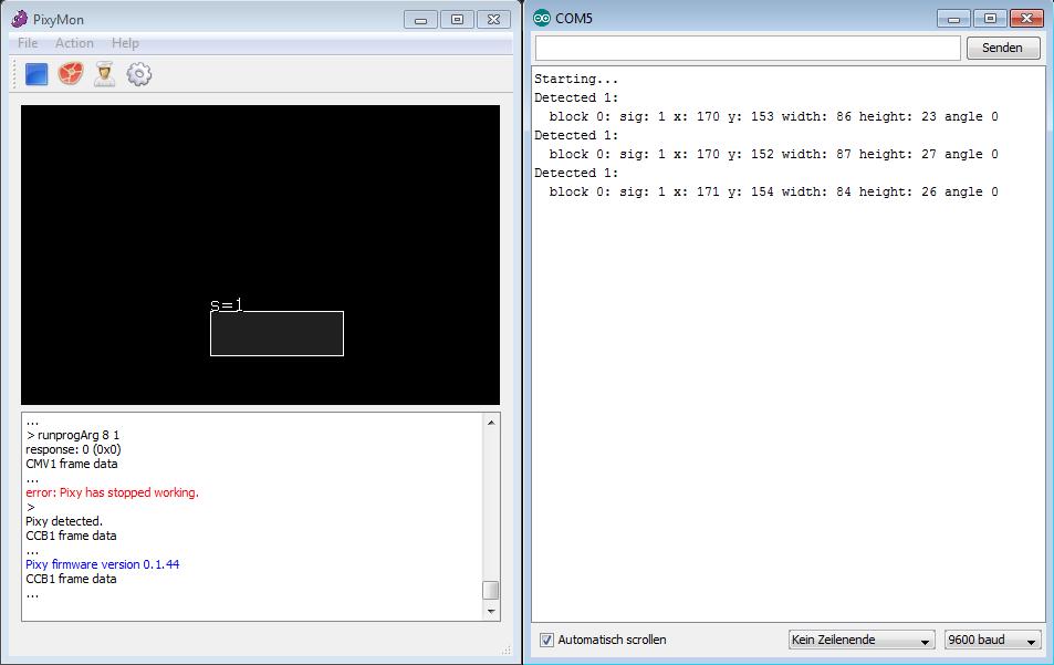 Serial Monitor und PixyMon